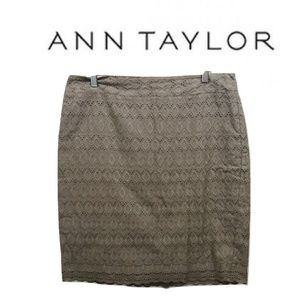 Ann Taylor 12 Skirt Brown Eyelet Cotton Casual